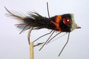 Black and red bass bug